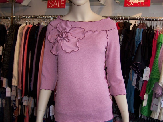 Romantic Chic Pink Rose Detail Top with 3/4 sleeves plus made in USA (V178)