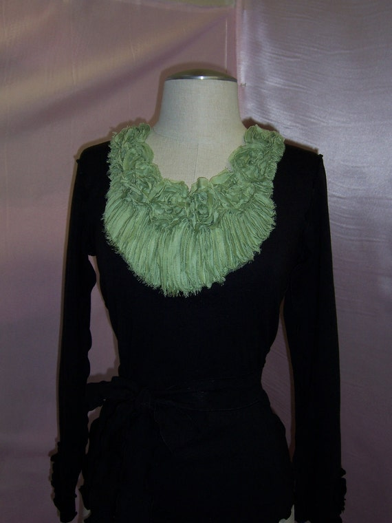 black color long sleeves top with green floral decoration  (v102)