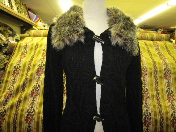 black sweater coat with fake fur just for you.