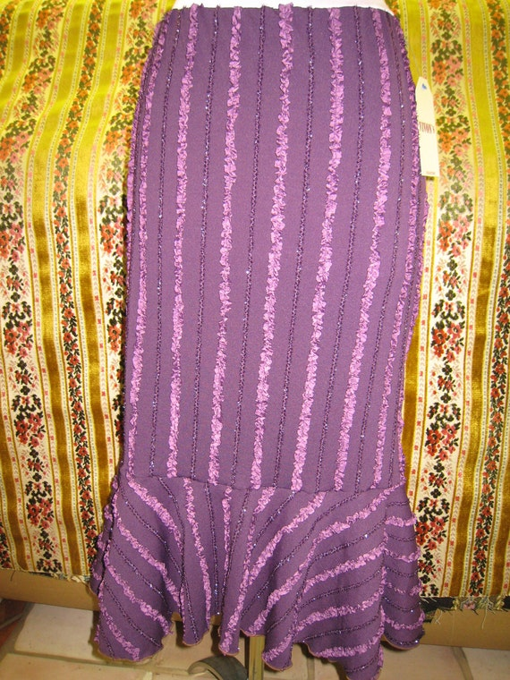 Purple color long length skirt with ruffled  edges decorative (v72)