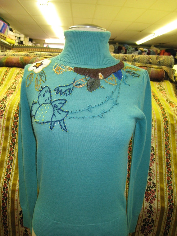 Dark turquoise light weight  turtleneck sweater with sequined emboridery and crochet floral plus made in USA (c5)