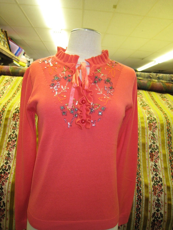 Hawaiian coral color sweater with sequined embroidery floral plus made in USA (c28)