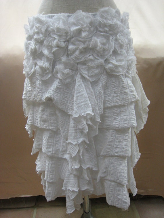 White color skirt with rose decoration around and 5 layers with limited edition only 2 in the whole world (v42)