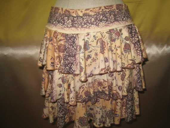Mix floral print with brown, yellow and cream color mini skirt with 3 layers (v190)