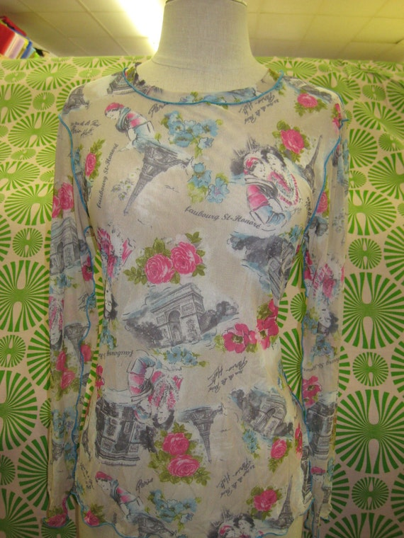 Paris print with floral detailing see through long sleeves top plus made in USA