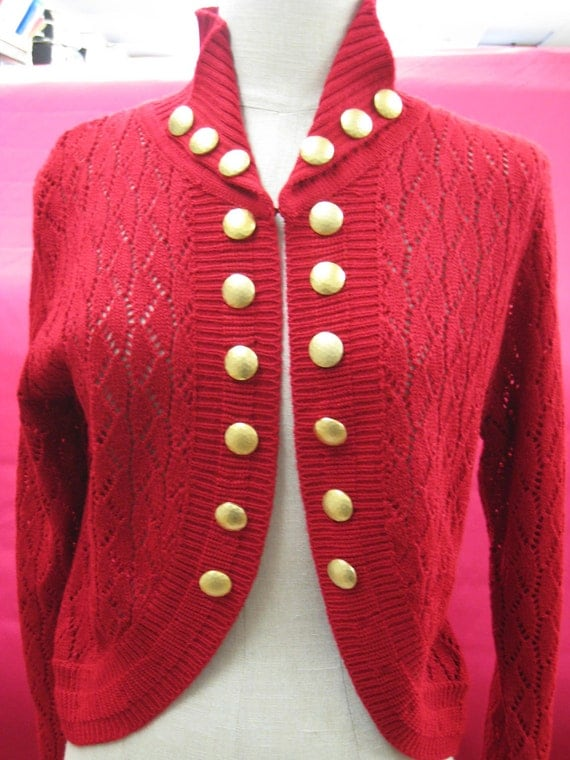 Red color hand knit cardigan with gold buttons decoration