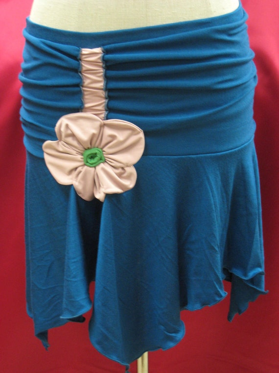 Dark blue mini skirt with gathered design and rose decoration plus made in USA