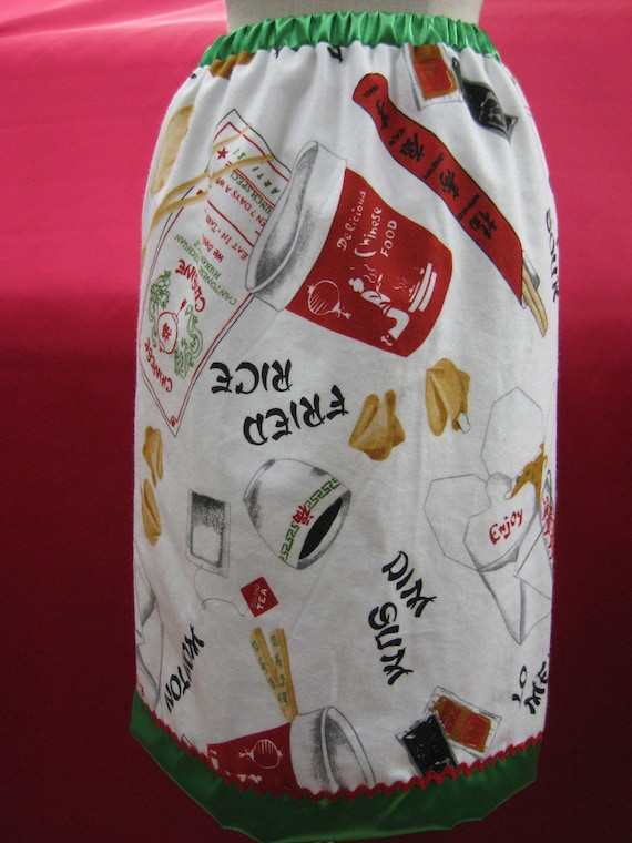 Chinese food ,fortune cookies, chopsticks , fried rice and more prints knee length skirt plus made in USA
