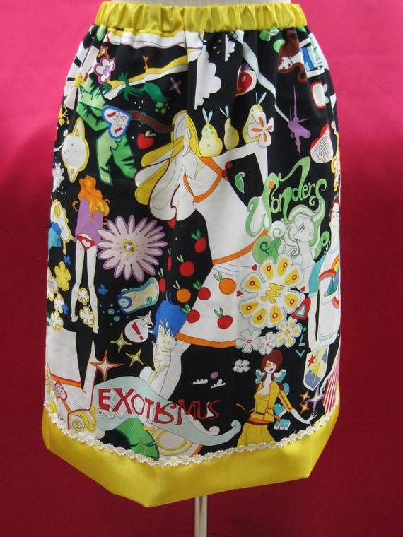 Mix colorful prints knee length skirt with yellow trim and made with Alexander Herny Fabric plus made in USA
