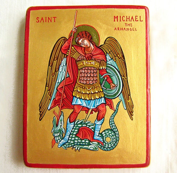 Saint Michael Slays The Dragon - byzantine icon,original, handpainted, tempera on wood panel, 6 by 5 inches