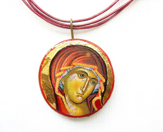 Virgin Mary, Theotokos pendant necklace, wood, genuine leather or cotton cord
