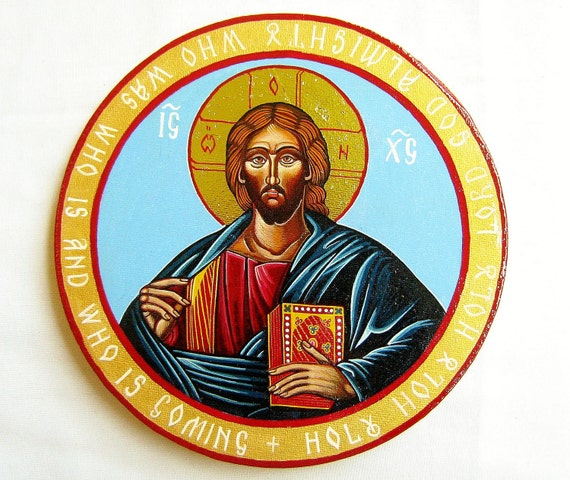 Christ Pantocrator - handpainted orthodox icon on canvas - 8 inches diameter