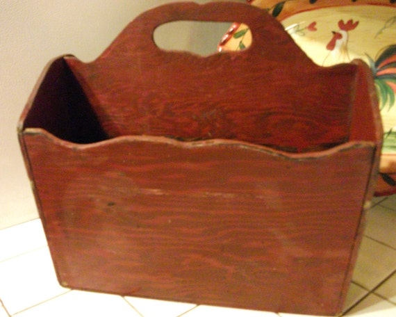 Vintage Shabby Red Wooden Magazine Stand - Towel Holder