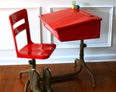 RESERVED FOR ACFITTS Inspired Learning. Vintage School Desk and Chair. Metal. Wooden. Fire Engine Red Elementary. Vintage Antiques by Rhapsody Attic on Etsy.