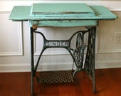 Vintage Turquoise Entryway Table Desk. Singer Treadle Sewing Machine. Office Desk. Teal. Country. Farm House Rustic. Industrial.