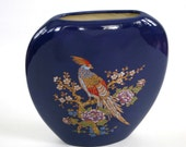 Vintage Peacock Vase. Japanese Bird. Flowers. Feathers. Colorful. Royal Indigo Cobalt Blue. Green. Gold. Fall Colors. Rhapsody Attic.