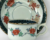 Vintage Japanese Tea Cup Set Saucer China Cup and Saucer Plate Cherry Plum Blossoms Blue Orange Gold Coffe. Feminine. Rhapsody Attic.