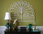 Summer. Full Headboard. Large Wall Hanging. Wall Art. Head Board. White. Peacock. Rattan. Wicker. Swirls. Unique. Cottage Chic Decor.