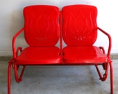 Valentines Day Red Metal Glider. RESERVED for KIM. Industrial Home Decor. Retro Patio Funiture. Cottage. Chair Bench. Garnet. Couple Pair.