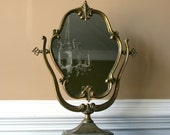 Antique Vanity Mirror with Stand. Makeup Ornate Mirror. Feminine. Romantic. Gold Golden Vintage Mirror. Vestiesteam tbteam.