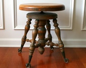 Antique Glass Marble Claw Foot Piano Stool. Piano Bench Boudoir Seat Ball Rustic Natural Atlanta