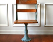 Industrial School Chair. Metal and Wood. Antique Early 1900s. Industrial Home Desk Chair. Vestiesteam.