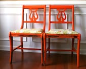 Dining Chairs Pair. Lyre Back. Wood. Tangerine Orange. Thanksgiving Cottage Chic Home Decor. Antique Mahogany. Curationnation. eveteam.
