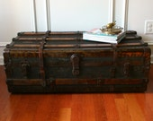 Huge Antique Steamer Trunk. Coffee Table. Flat Top. Canvas. Slatted. Wood and Leather. Metal. 1800s. Fall Autumn. Industrial Home Decor.