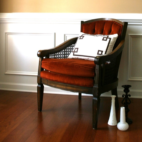 Vintage Lewittes Side Accent Chair Rust Velvet By