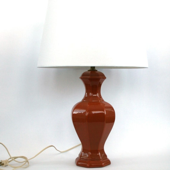 Vintage Table Lamp Light Rust Orange Ginger Jar Style