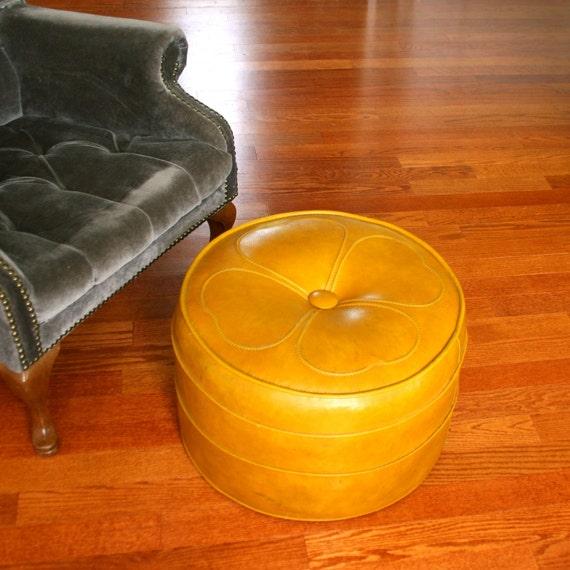 Vintage Ottoman Hassock Mustard Yellow Gold Mid Centruy