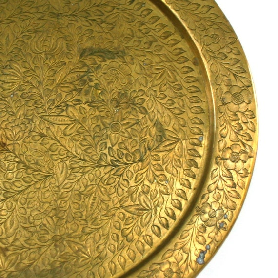 Vintage Brass Charger. Plate. Tray. Engraved. Chinoiserie. Leaves. Flowers. Floral. Rhapsody Attic on Etsy.