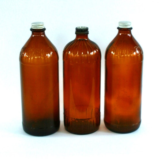 Instant Collection Industrial Clorox Bottles. Amber Brown. Apothecary. Cottage Country Farmhouse Decor. Fall Autumn. Primivite. Rustic.