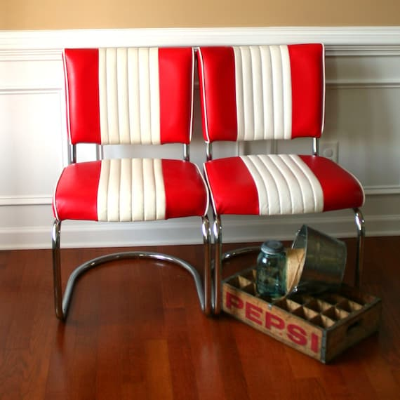 Mid Century Chairs Pair Diner Red White Stripes Retro