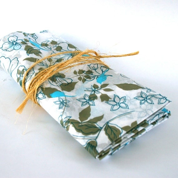 Tissue Paper. Vintage Birds and Flowers. Turquoise. Teal. Taupe. Decorative. Floral. Retro. Trendy. Nature. Fresh Spring. Rhapsodyattic.