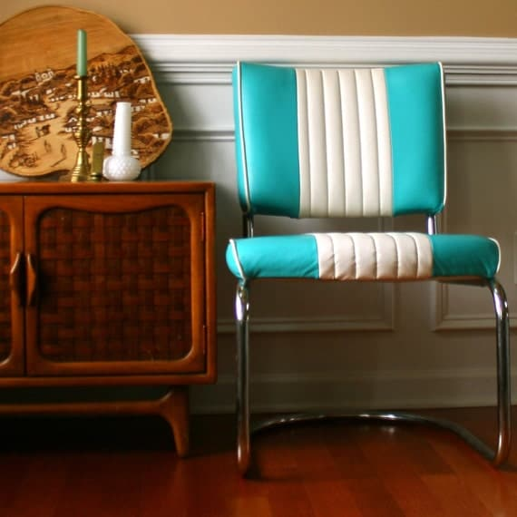 vintage turquoise chair retro diner style vinyl striped