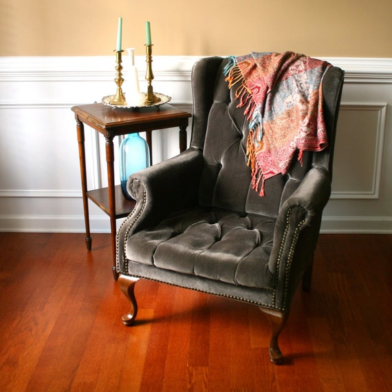 Vintage Upholstered Wing Back Arm Chair Velvet Tufted