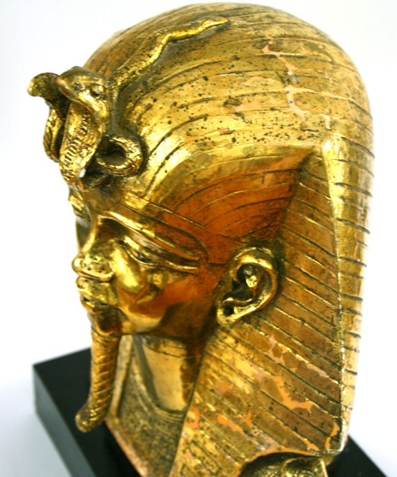 Vintage Bust Statue King Tut Ancient Egyptian King Head
