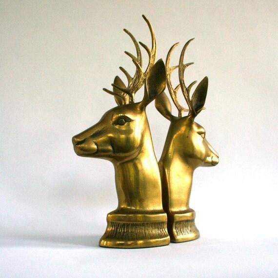 Vintage brass deer bookends antlers mantle by rhapsodyattic - Deer antler bookends ...