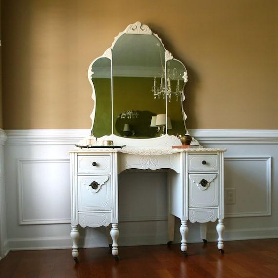 1930s Vanity Desk And Mirror Antique White By Rhapsodyattic