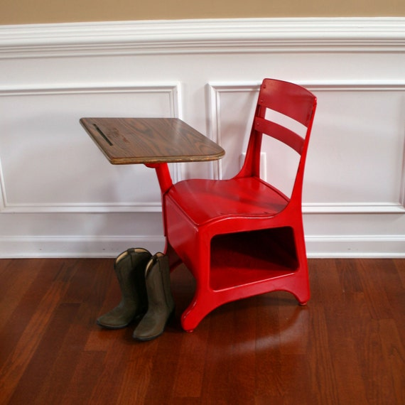 Old School Vintage School Desk and Chair. By American Desks Crusader. Apple Red. Shabby Chic. Childrens. Elementary. Primary Colors.