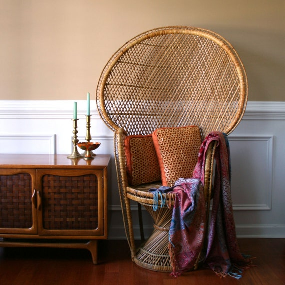 Chinoiserie Peacock Chair. High Fan Back Throne. Armchair. Rattan. Wicker. Eclectic. Mid Century. Fall. Alfresco Dining. Interior Design.