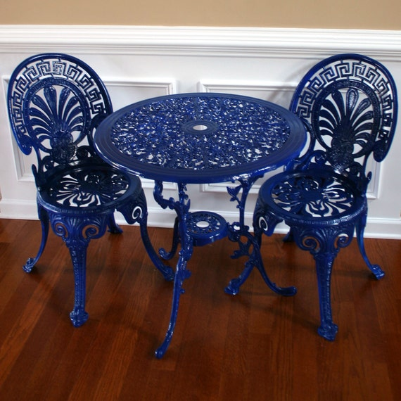 Chinoiserie Blue Vintage Patio Table And Chairs Garden