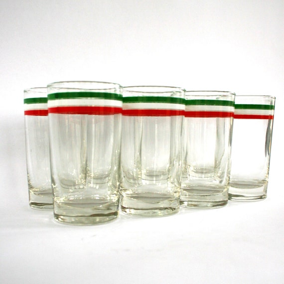 Christmas Glassware Christmas Glasses Vintage Barware Red Green Candy Cane Stripes Holiday Party Decor Cocktail Glasses Bar Cart Accessories