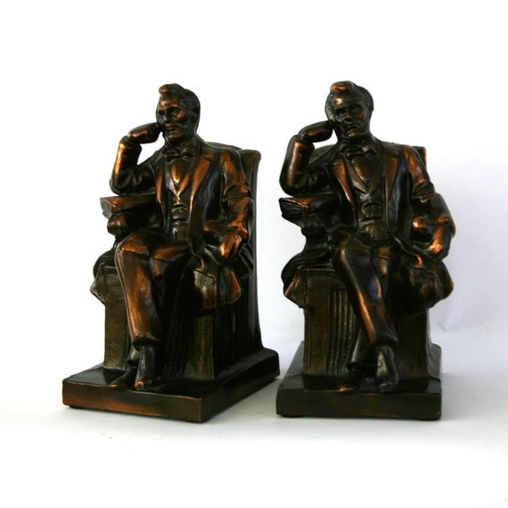 Vintage Abraham Lincoln Bookends Bronze Copper Finish Home