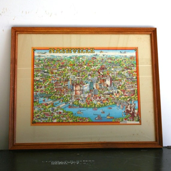Vintage Nashville City Map. TN. Print. Nashville Tennessee. Wooden Frame. Wall Art. Music City USA. Country Music Hall. Blue. Yellow.
