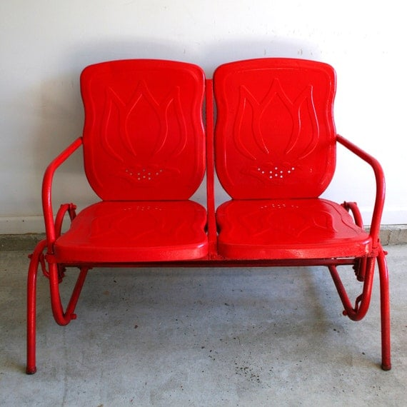 Valentines Day Red Metal Glider Reserved For Kim Industrial
