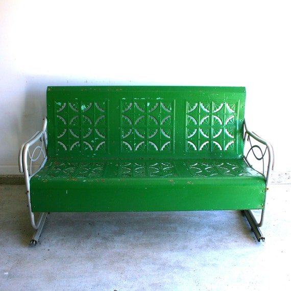 Spring Green Vintage Glider Metal Bench Industrial Home