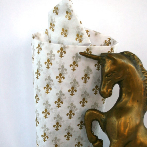 Tissue Paper Fleur De Lis. Gold. Golden. White. Decorative Tissue Paper. Classic. Traditional. Mardi Gras. Rhapsody Attic on Etsy.