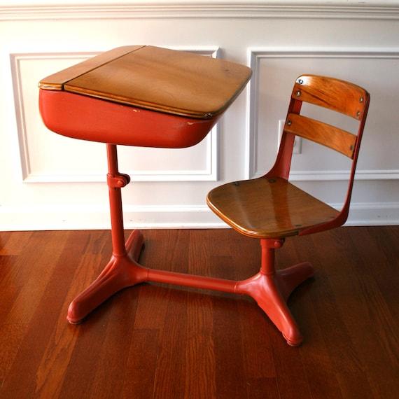 Vintage Salmon Elementary School Desk Storage And Chair Wood